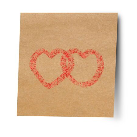 double page: Paper note stick on wall double heart