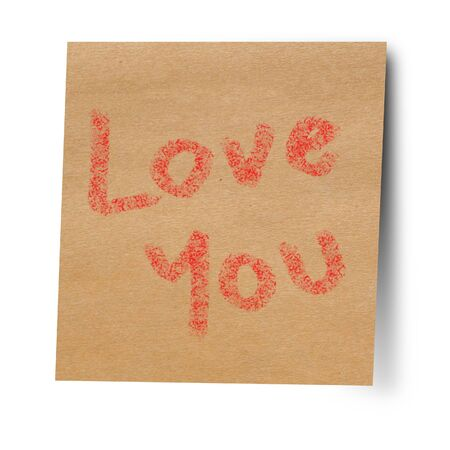 Paper note stick on wall love you
