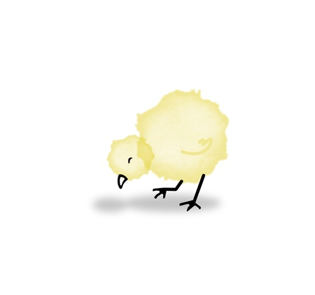 Little yellow chick drop paint photo