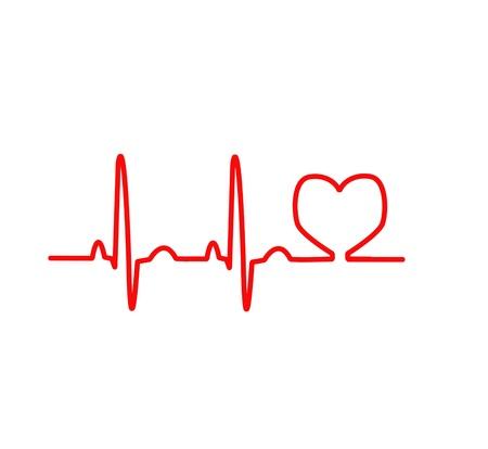 EKG ligne rouge coeur graphique de suivi