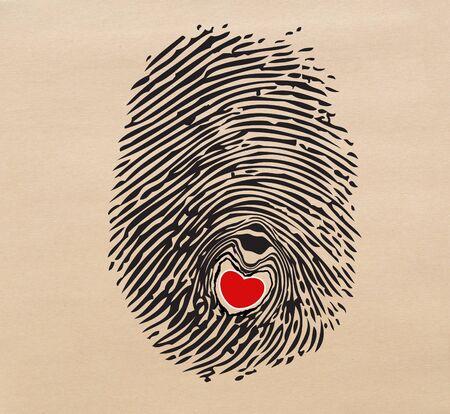 Red heart in fingerprint