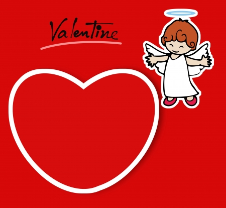 Little angel and red heart photo