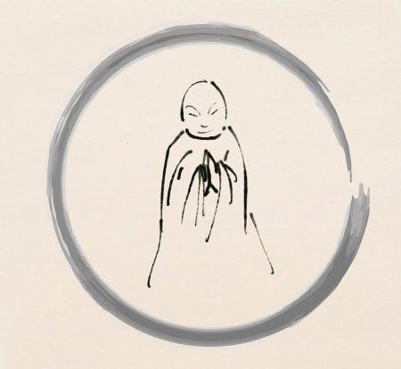 buddha face: Monk in circle drawing Stock Photo