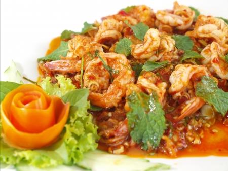 Thai food shrimp in chili salad