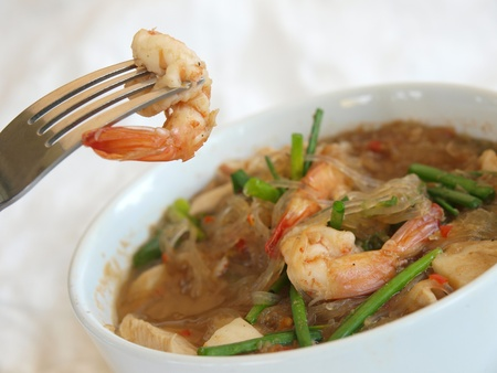 Thai food shrimp in Thai soup photo