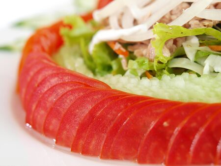 Tuna salad with cucumber and tomato