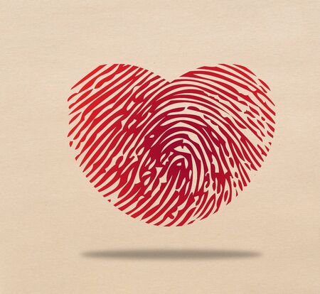 Red heart fingerprint Stock Photo - 17473266