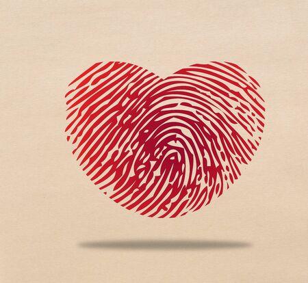 Red heart fingerprint Stock Photo - 17473266
