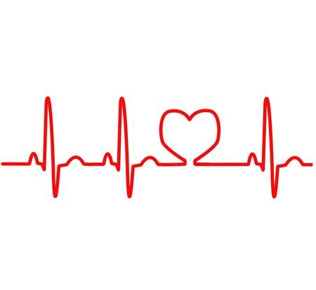 electrocardiograma: EKG l�nea roja del coraz�n de monitoreo
