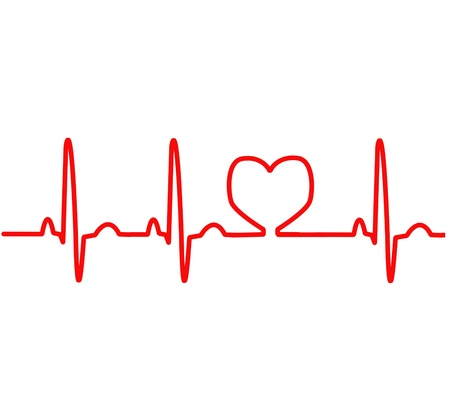 electrocardiogram: Monitoraggio cardiaco ECG linea rossa