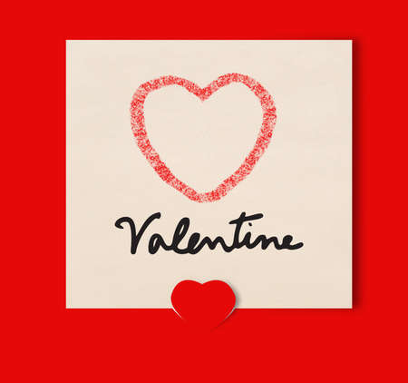 Paper note heart on red background Stock Photo - 17473322