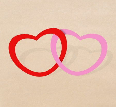 Together heart red and pink Stock Photo - 17473293
