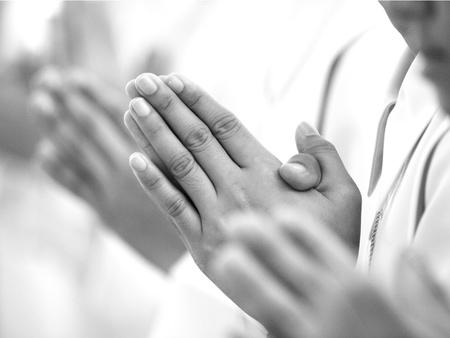 Placez les paumes des mains pour saluer Banque d'images