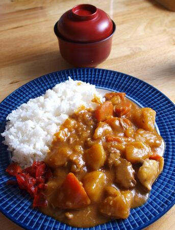 Japanese food curry serves with steamed rice      photo