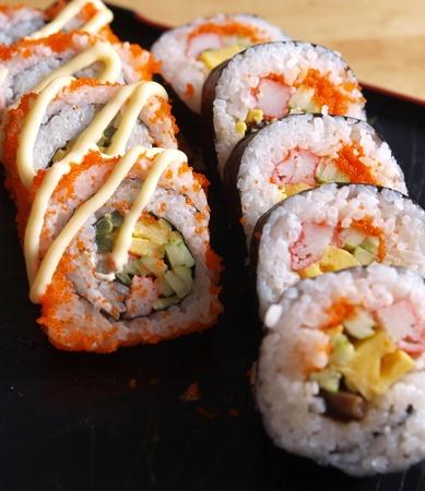Japanese food sushi with shrimp eggs