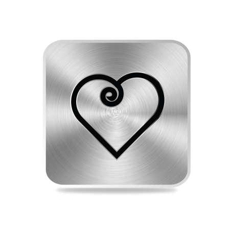 aluminum texture: Aluminum texture heart curl icon Stock Photo