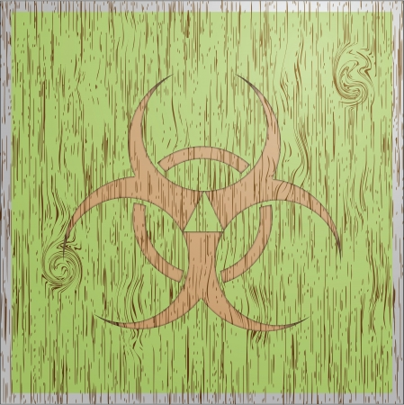 Bio hazard wood texture vintage style icon Stock Photo - 18518938