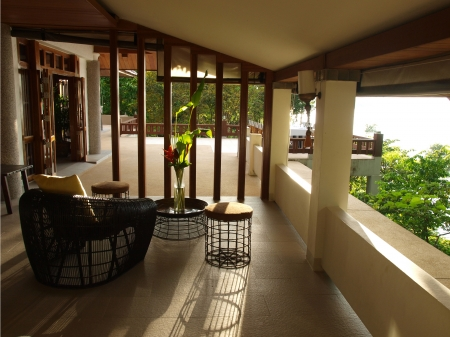Luxury resort terrace in sun light photo