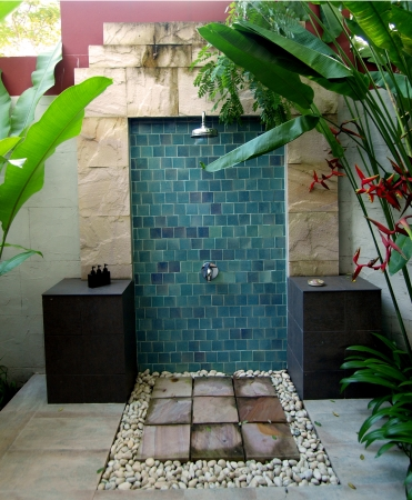Outdoor shower in natural atmosphere