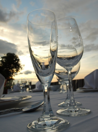 Wine glasses on dining table outdoor