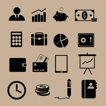 Monotone financieren iconen in het zwart Stock Illustratie