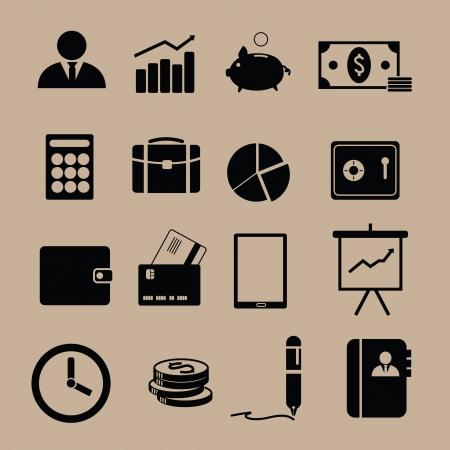 economie: Monotone financieren iconen in het zwart Stock Illustratie
