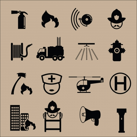 water hoses: Fire extinguisher icons in black