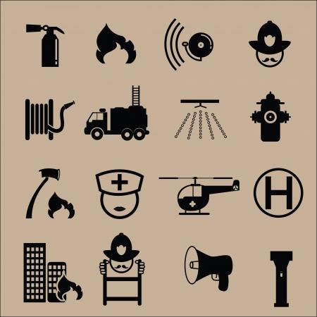icônes d'extinction d'incendie en noir Vecteurs