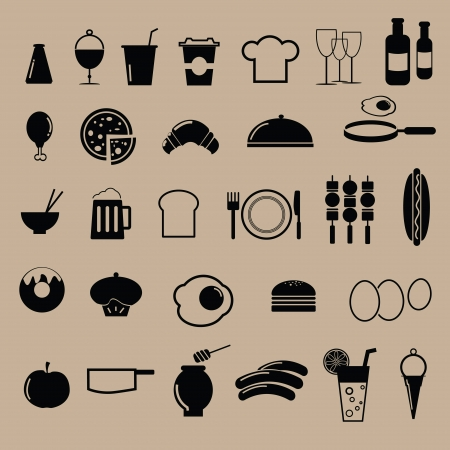 Food icons for restaurant menu Vector