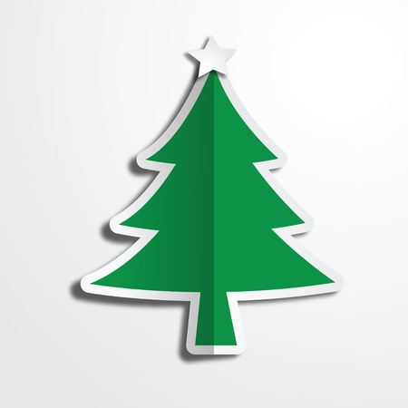 Christmas tree paper craft art work Vector