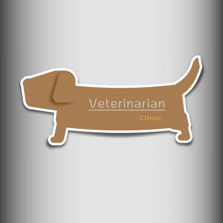 Veterinarian clinic dog shape tag Vector