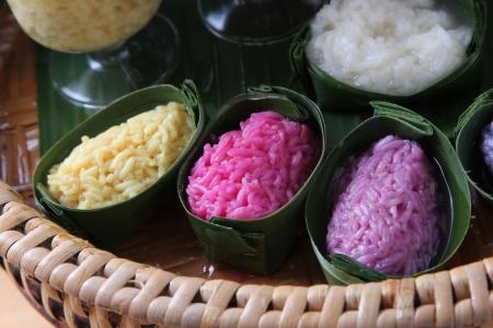 Color rice in banana leaf joist photo