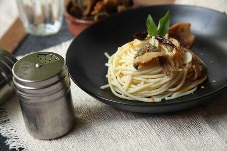 Spaghetti Italian dish for dinner photo