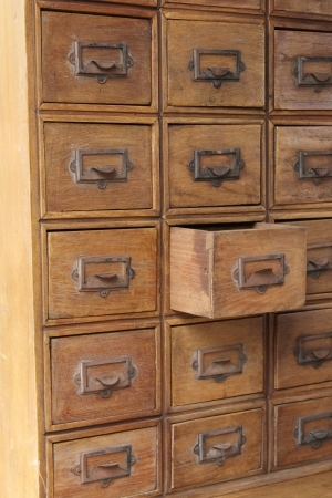 Brown wooden retro style drawers Stock Photo