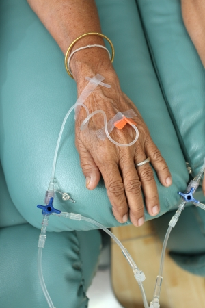 Patients getting intravenous solution for chemotherapy