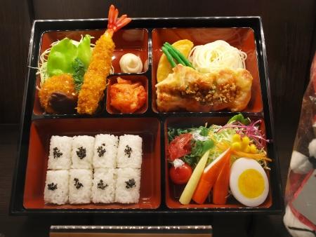 Bento Japanese food set prepared in box 免版税图像