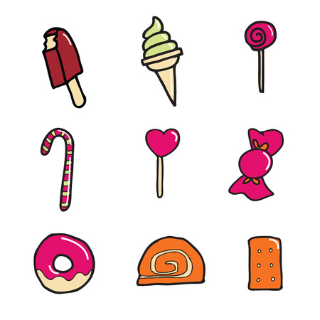 Candy and dessert icon set Vector