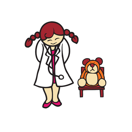Little girl playing as a doctor with bear doll Vector