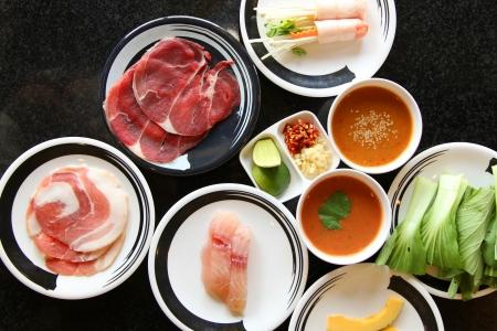 Fresh food Shabu set of Sukiyaki Japanese food