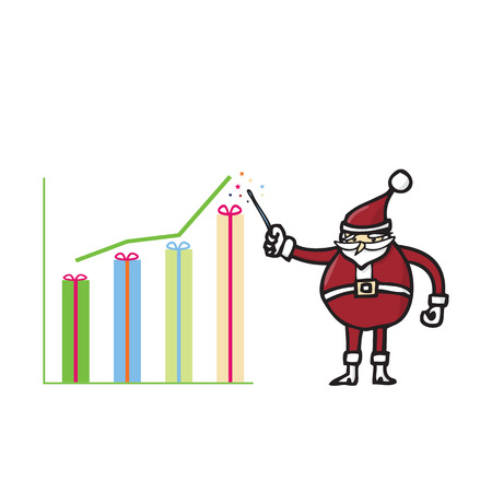 Santa showing gift graph for presentation Vector
