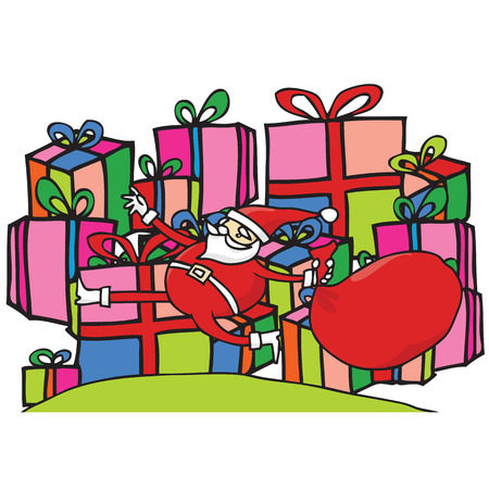 Santa jumping in front of pile of presents Vector