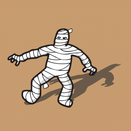 Mummy Egyptian death walking with bandage Ilustrace