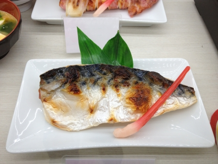 Grilled Saba Japanese food in white plate photo