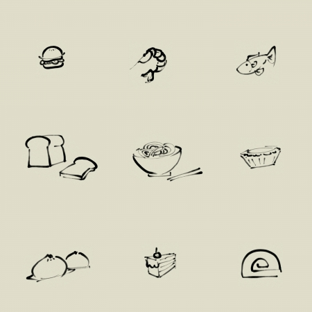 Food Chinese brush icon set  Stock Photo - 23304565