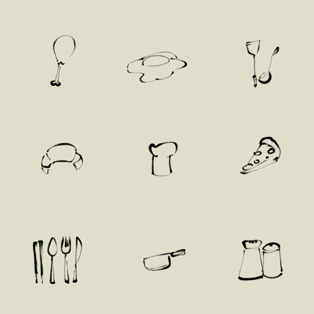 Cuisine pinceau chinois ic�ne ensemble Banque d'images