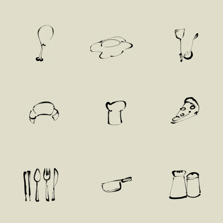 Kitchen Chinese brush icon set
