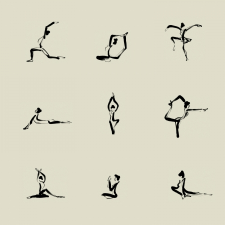 Yoga Chinees penseel pictogram tekening set Stockfoto