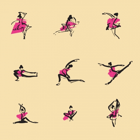 Ballet Chinese brush icon drawing set Vector