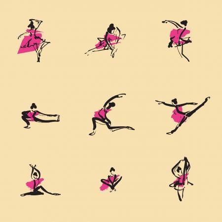 Ballet chinois brosse jeu d'ic�nes de dessin Illustration