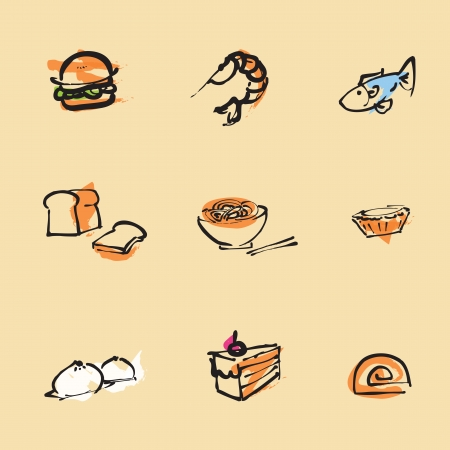 Food Chinese brush icon set  Vectores